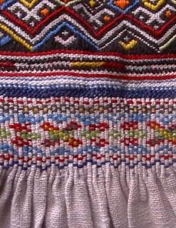 Фрагменти старовинної сорочки з Турківського району Львівської області. Типові для цього регіону орнаменти, а особливо оздоблення манжети – дуди – вишивка по брижах. Сорочка уставкового крою, на льняному полотні